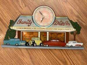 """Vtg Coca Cola Wall Clock 1950s Diner ~Dimensional Cars 10""""x 20""""~Collectible wrks"""