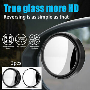 2xuniversal Wide Angle Car Rear Side View Blind Spot Mirror 360 Rotating Black