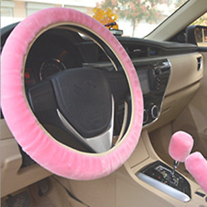 Plush Fur Fluffy Car Steering Wheel Cover Handbrake Cover Gear Knob Cover Pink