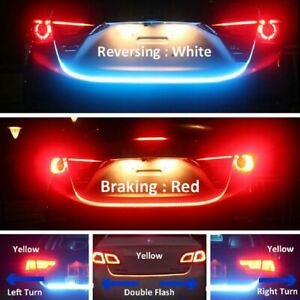 4 Color Flow Type Led Strip Tailgate Turning Signal Lights Bar Trunk Strips Lamp