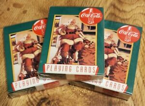 Vintage STILL SEALED Coca Cola Playing Cards Bicycle Santa Claus lot of 3