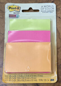 Post it Super Sticky Notes Rio De Janeiro Collection 3 X 45 Each World Of Color
