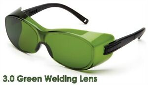 Pyramex Ots Safety Glasses With 3 0 Green Welding Lens Goes Over Rx Glasses