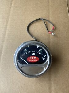 Vintage Sun Electric Engine Tachometer Tach Rc40 Red Football 4000 Rpm