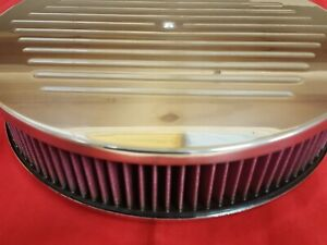 14 X 3 Polished Aluminum Ball Milled Air Cleaner Set W Washable Element