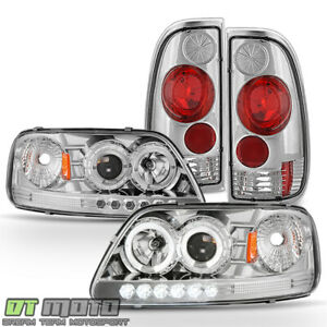 Chrome 1997 2003 Ford F150 F 150 Led Halo Projector Headlights tail Lights Lamps