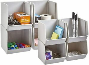 Stori Plastic Stacking Organizer Bins For Office Pantry And Bath Set Of 8 In