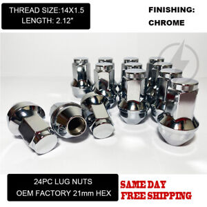 Fit Ford F 150 2015 2020 Oem Replacemnt Solid Lug Nuts 14x1 5 Thread Chrome 24pc