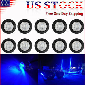 10x Blue Led Mini Bullet Trailer Clearance Light 3 4 Round Side Marker Lights