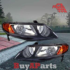 Pair Oe Replacement Headlights For 2006 2011 Honda Civic 4 Dr Sedan Left Right