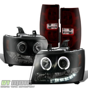 2007 2013 Chevy Suburban Tahoe Led Halo Projector Headlights tail Lights Lamps