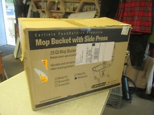 Carlisle 3690404 Commercial Mop Bucket With Side Press Wringer 35 Quart Capac