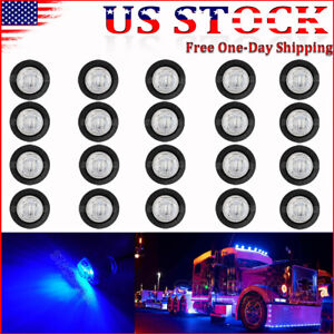 20x 3 4 Bullet Marker Lights Led Truck Trailer Round Side Clearance Light Blue