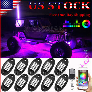 6x Led Underglow Rgb Rock Lights Underbody Neon Light Kit For Jeep Off road Utv