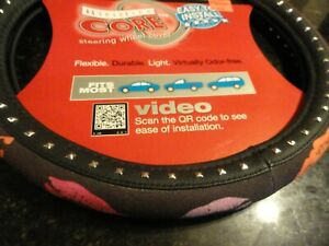 New Black Car Steering Wheel Cover Pink Red Lips Smooch Fun Sexy Studs Soft