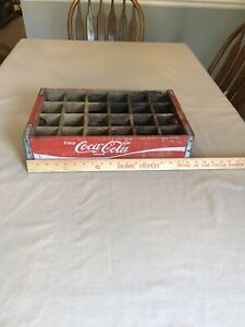 Vintage Coca-Cola Wooden Crate with 24 Slots  Red In Color.