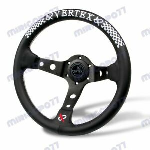 White Stitch 330mm Vertex Leather Deep Dish Steering Wheel For Omp Momo Rac