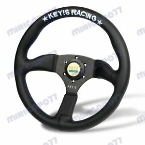 340mm Key s White Embroidery Leather Deep Dish Steering Wheel For Omp Momo Rac