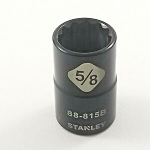 5 8 1 2 Drive Stanley Professional Grade Black Chrome 12 Point Socket