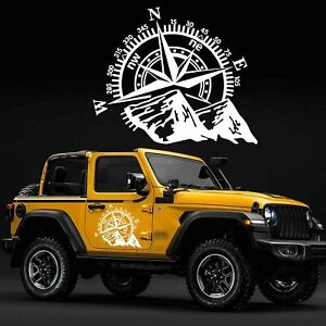 24 X20 Mountain Compass Graphics Sticker For Suv Car Hood Body Side Doors White
