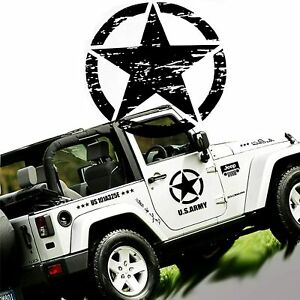 20 X20 Army Star Graphics Sticker For Suv Truck Car Hood Body Side Doors Black