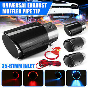 35 61mm Universal Carbon Fiber Car Exhaust Tip Muffler Pipe Steel W Led Light