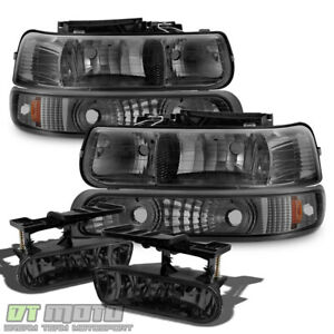 Smoked 1999 2002 Chevy Silverado 00 06 Tahoe Headlights bumper Lights fog Lamps