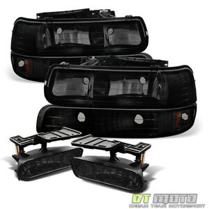 1999 2002 Chevy Silverado 00 06 Suburban Tahoe Black Smoke Headlights fog Lamps