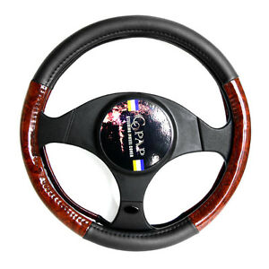 14 Car Steering Wheel Cover Pu Leather Black Wood Grain Universal Fit S Size