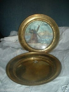 2 Vintage Brass Picture Made In England Solid Brass Frame