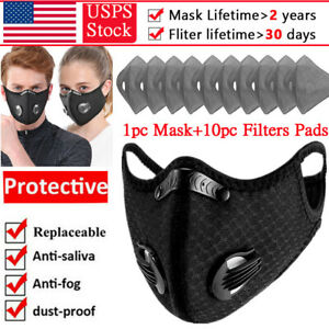 Reusable Washable Face Masks With Breathing Valve 10pc Carbon Filter Mask Set Us