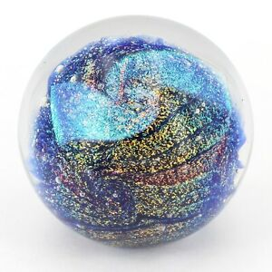 Glass Eye Studio Shimmering quot;Northern Lightsquot; Mount St. Helens 3quot; Paperweight