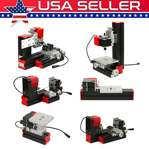 6 In 1 Diy Mini Wood Metal Motorized Lathe Machine Woodworking Turning Tool I7h0