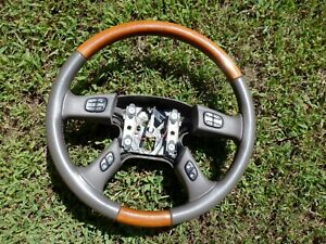 03 04 05 06 Cadillac Escalade Steering Wheel With Controls Leather wood Grain