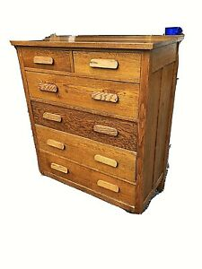Antique Dresser 5 Drawer High Quartersawn Oak Bedroom Furniture