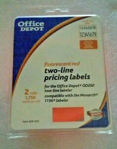 Office Depot Two Line Pricing Labels 2 Rolls Fits Od202 Monarch 1136 Labeler