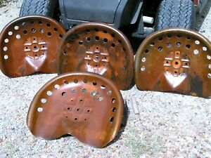 Four Steel Tractor Seats Rust Finish Metal Farm Or Bar Stool Tops Pan Style