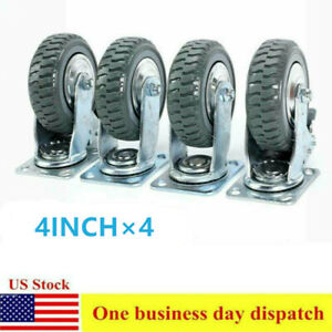 4pcs Heavy Duty Industrial Rubber Caster Wheels 4 360 Swivel Ball Bearing