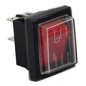 4pin Waterproof Rocker Boat Switch Ac 250v 15a 125v 20a Red Light Dpst On off