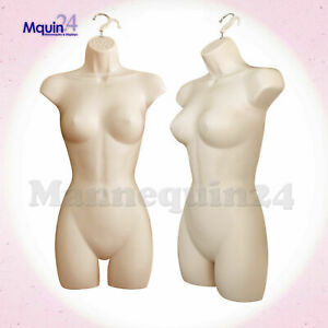 One Female Torso Dress Body Form Mannequin Flesh Women Hanging Display