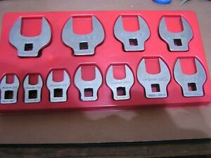 Snap On 11 Piece Sae Crowfoot Wrench Set 3 8 Thru 1 Excellent Cond Free Ship