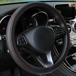 Black Leather Car Steering Wheel Cover Pu Universal Fit 38cm 15 Inches