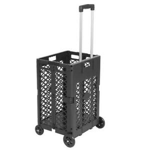 4 Wheels Mesh Rolling Utility Cart Folding Collapsible Hand Crate 55lb