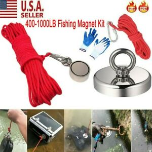 400 1000lb Fishing Magnet Kit Strong Neodymium Pull Force Treasure Hunt Us