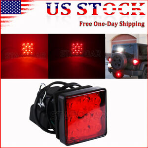 2 Truck Trailer Hitch Towing Receiver Cover Red Lens 12 Led Brake Light
