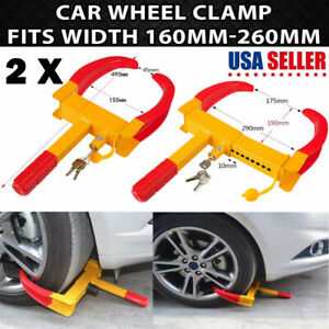2 Pack Car Wheel Tire Lock Clamp Boot Anti Theft Tire Claw Trailer Truck Suv Atv