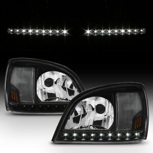 Black 2000 2005 Cadillac Deville Led Strip Headlights Headlamps 00 05 Left right