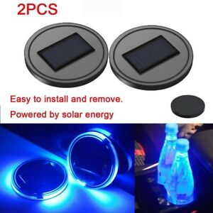 2pc Led Solar Cup Pad Car Accessories Light Cover Interior Decoration Lights Us