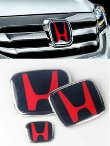 3pcs Type R H Emblem Front Rear Steering Fit For 2016 2020 Honda Civic Hatchback