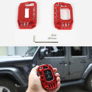 Alloy Red Key Fob Cover Case Protector Shell For Jeep Wrangler Jl Jt Gladiator